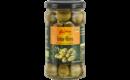 Grüne Oliven mit Stein, in Essig-Salzlake
