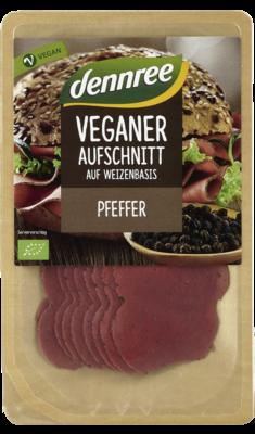Veganer Aufschnitt auf Weizenbasis Pfeffer