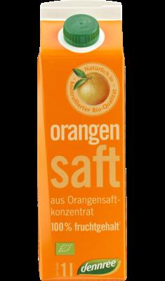 Orangensaft aus Orangensaftkonzentrat mit 100% Fruchtgehalt